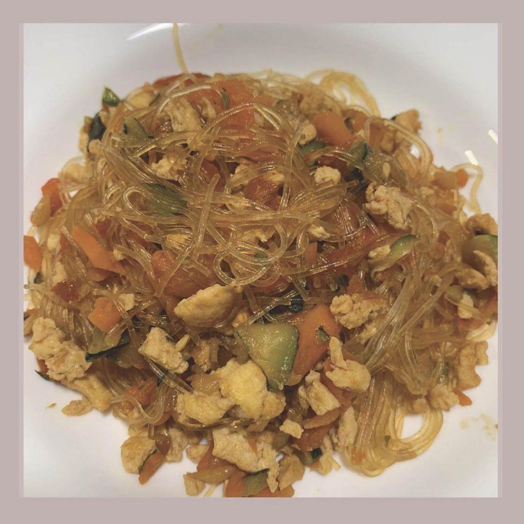Fideos chinos con arroz fit